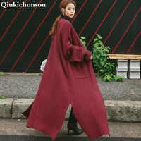 Vintage Coréenne Long Cardigan Femmes 2018 Automne Hiver Manteau Poches Fente À Manches Longues Plus La Taille Épais Chandail Tricoté pull femme