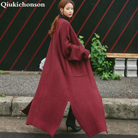 Vintage Korean Long Cardigan Women 2018 Autumn Winter Coat Pockets Slit Long Sleeve Plus Size Thick Knitted Sweater pull femme