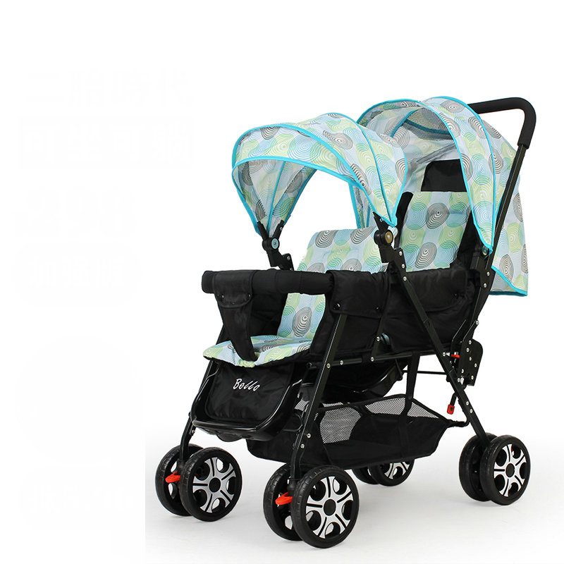 Foldable Twins Baby Carriage, Lightweight 9.6KG Twins Stroller with 8 wheels, adjust seat twins pram with mosquito net