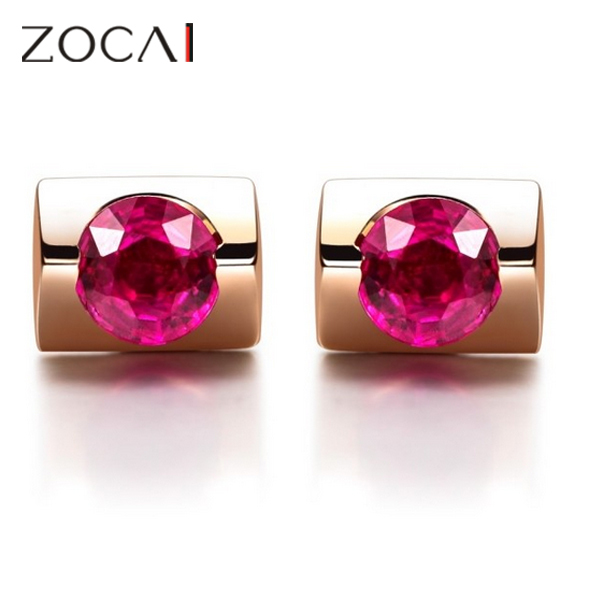 ZOCAI marque véritable 18 K or rose 0.30 ct rubis boucles d'oreilles saphir disponible E00568