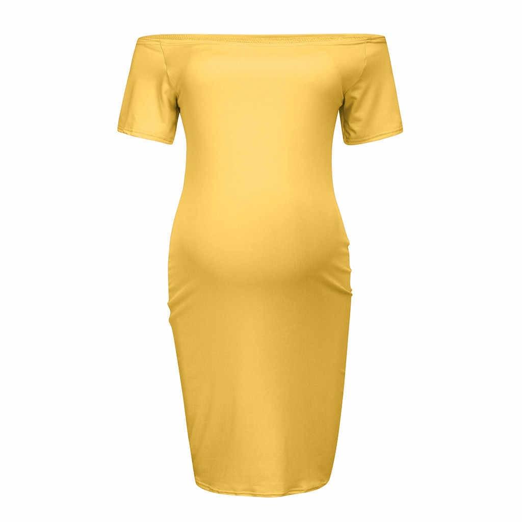 Mulheres de manga curta gravidez fora do ombro sólido sexy vestido verão enfermagem para grávidas 2019 vestidos para sessão de fotos 2
