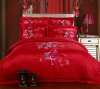 Satin embroidered Jacquard 100%cotton lace Chinese wedding 4PCS set piece set bedding Romantic Red pink bed Embroidery bedding