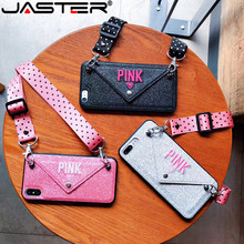 Luxury PINK Glitter Embroidery Leather Case for iPhone 7 7Plus Fashion Wave Point Lanyard For iphone XS Max X 8 6 6s Plus