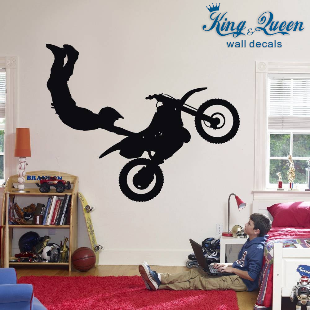 Stunt Bike Wall Decals Art Dirt Motor Cross Xtreme Wall Stickers For Boys  Bedroom 27 Kinds Of Colors Can Be Choosen Home Decor In Wall Stickers From  Home ... Part 35