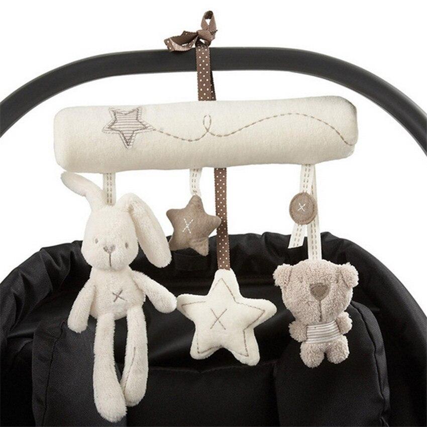 Baby Rattle Rabbit Toys Music Doll Bed Bell For Stroller Infant Multifunctional Hand Bell Plush Educational Mobile Toys