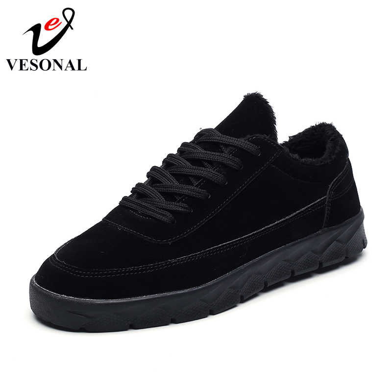 f55c8303494 ... VESONAL Brand Leather Sneakers Male For Men Shoes Adult 2018 Winter  Warm Fur Comfortable Short Plush ...