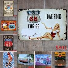 цена на 20*30cm Poster US Route 66 Metal Sign Tin Plates Retro Metal Signs Wall Art Plaque For Pub Coffee Bar Garage Home Wall Decor