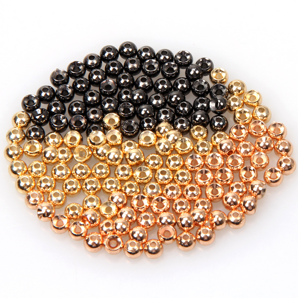 50pcs / lot Tungsten Fly Tying Beads Fly Fishing Nymph Head Ball Beads  Gold Black Nickle Copper Beads [1 pcs] 2 meter fly tying glitter rib chironomid nymph braid line olive black pearl red gold silver brown color