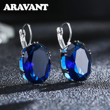 New Fashion Silver Earrings Oval Water Drop 5 Color Big Zircon Stones Earring For Women Valentines Day Gifts