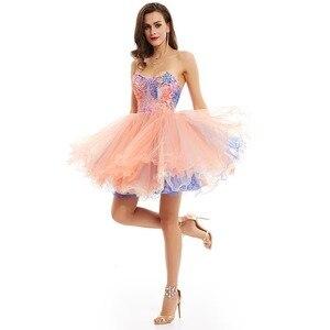 Image 3 - Dressv pembe zarif homecoming elbise ucuz bir çizgi straplez sequins baskı diz boyu mezuniyet ve mezuniyet elbiseleri