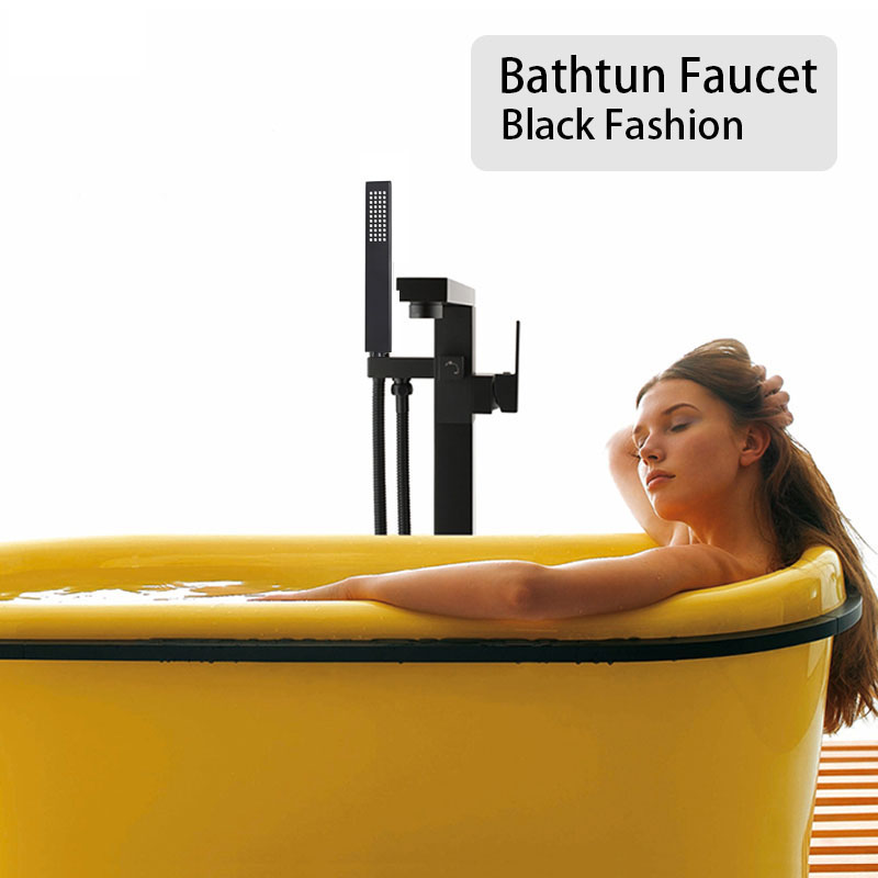 Black Stand Floor Mounted Bathtub Faucet Bathroom Brass Bath Mixer Water Tapware Square Design Double Handle Shower in Bathtub Faucets from Home Improvement