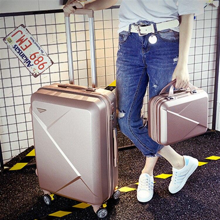 Fond marin 2 pièces/ensemble 14 pouces sac cosmétique 20/22/24/26 pouces fille boîtier de chariot ABS + PC étudiants voyage bagages valise à roulettes