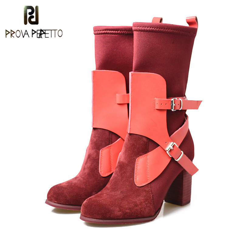 Prova Perfetto High Quality Women Elastic Sock Slim Calf Boots High Thick Heels Stable Mid Calf Boots Red Suede Leather Boots stylesowner 2018 new arrival chunky heel lace up mid calf boots patchwork elastic sock boots women slim real leather retro boots