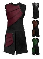 New sleeveless side tie, round neck stitching, men's medieval costumes, stage costumes