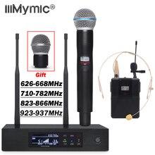 UHF PRO Беспроводной микрофон Системы QLXD4 Настоящее разнообразие QLXD1 поясной+ с лацканами+ гарнитура+ ручной микрофон для сцена, караоке DJ