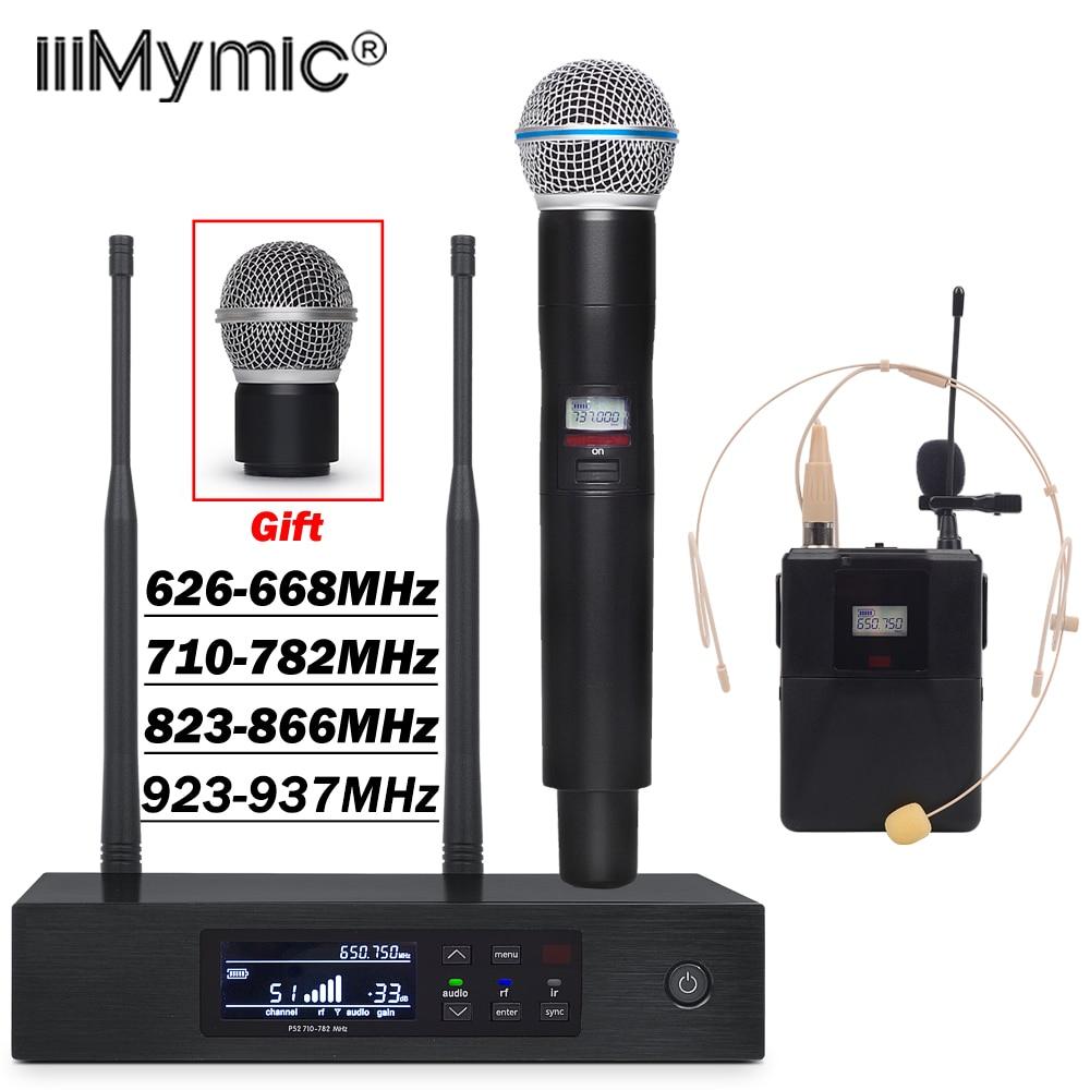 Micro sans fil UHF PRO QLXD4 True diversité QLXD1 Bodypack + revers + casque + micro portable QLXD2 pour scène karaoké DJ-in Microphones from Electronique    1