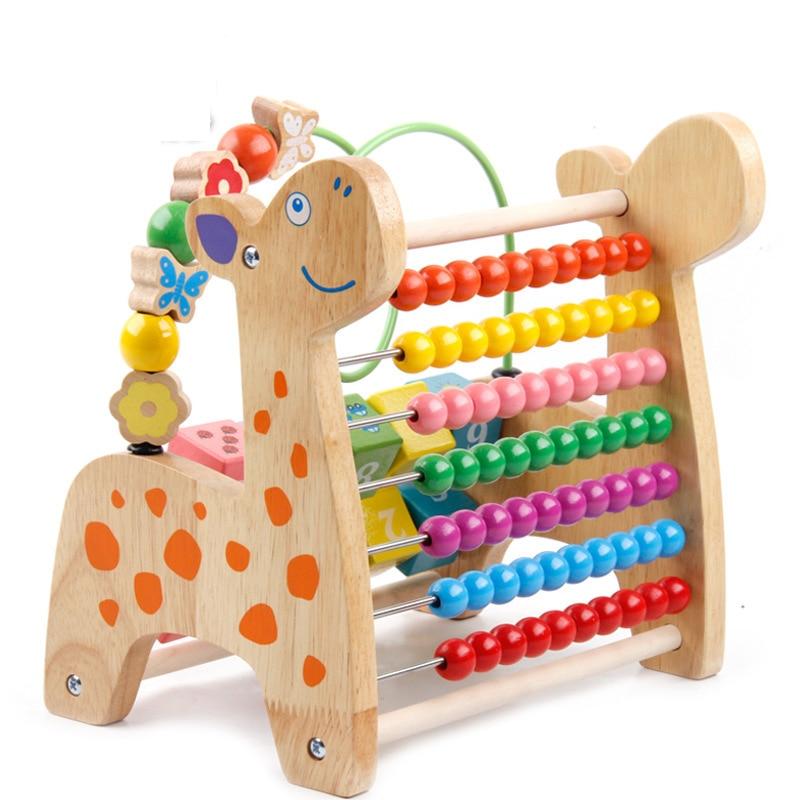 Bébé bois jouet multi-couleur cerf forme cadre de calcul début mathématiques éducation Puzzle jouets faits à la main