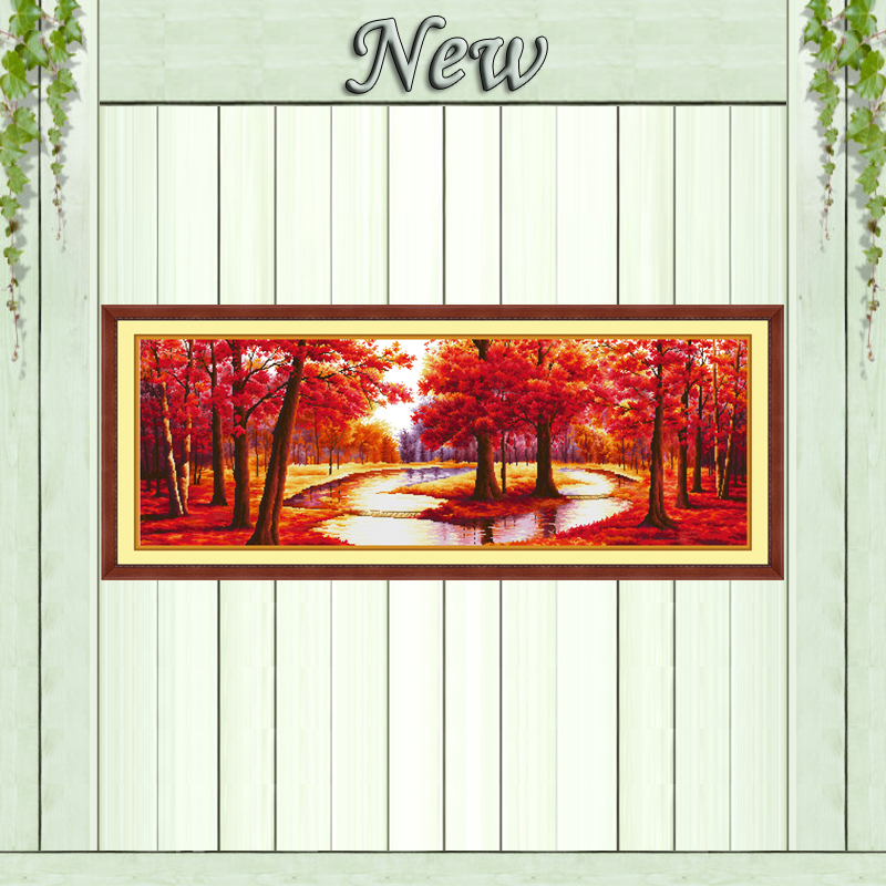 Maple trees and river rural Scenery painting Counted print on canvas DMC14CT 11CT DMS Cross Stitch Needlework kits Embroider Set