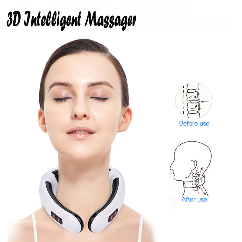 3D Intelligent Massager Electric Pulse Back and Neck Massager Far Infrared Heating Pain Relief Health Care Relaxation Tool 1PCS in Massage Relaxation from Beauty Health