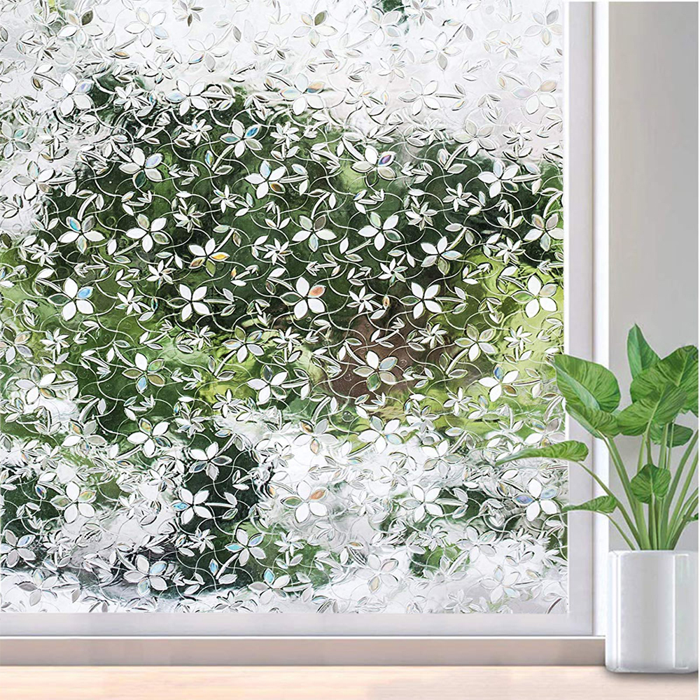 Funlife PVC Waterproof Window Cover Films No-Glue 3D Static Flower Decorative Privacy Bedroom Glass Sticker,30/45/60/75/90*300cm image