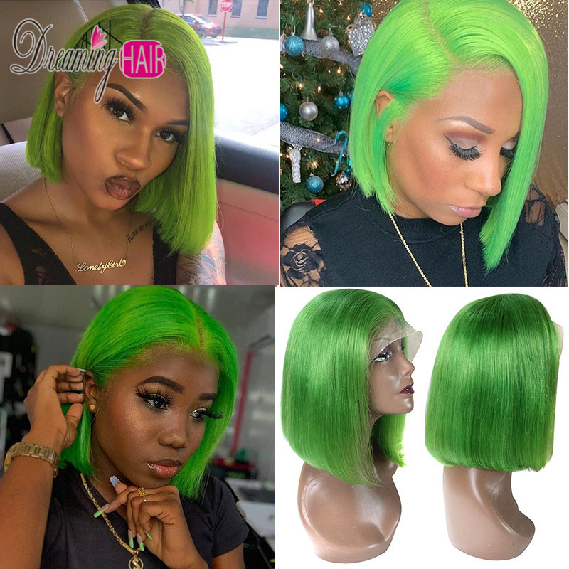 13x6 Blue Bob Lace Front Human Hair Wigs Pre Plucked 613 Honey Blonde Purple Green Burgundy Yellow Ombre Colored Human Hair Wigs