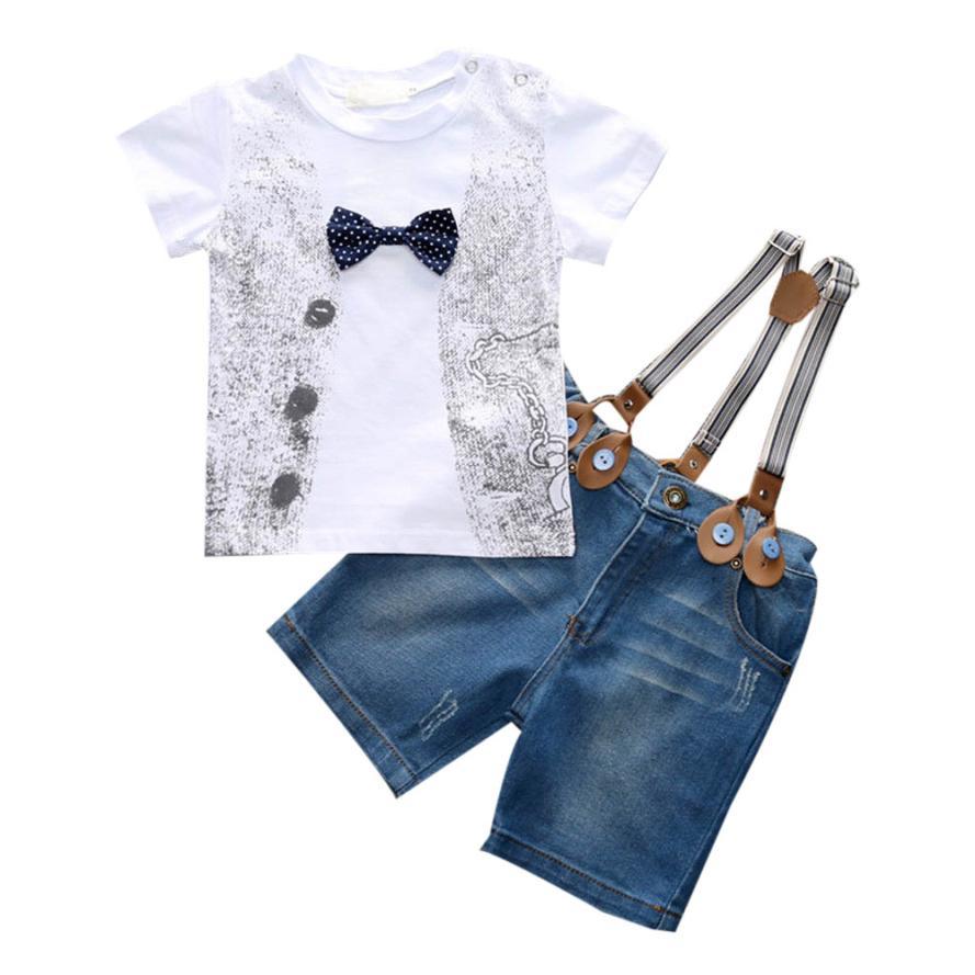 1 компл. дети супер милый для маленьких мальчиков красивая футболка +джинсовые штаны + Бретели для нижнего белья одежда детей Костюмы Roupa Menino