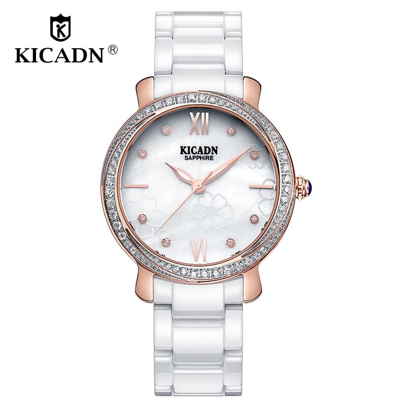 KICADN Ladies Elegant Dress Watch Luxury Women Watches Fashion Ceramic Watch Flowers Pattern Surface Watches Quartz Reloj Mujer