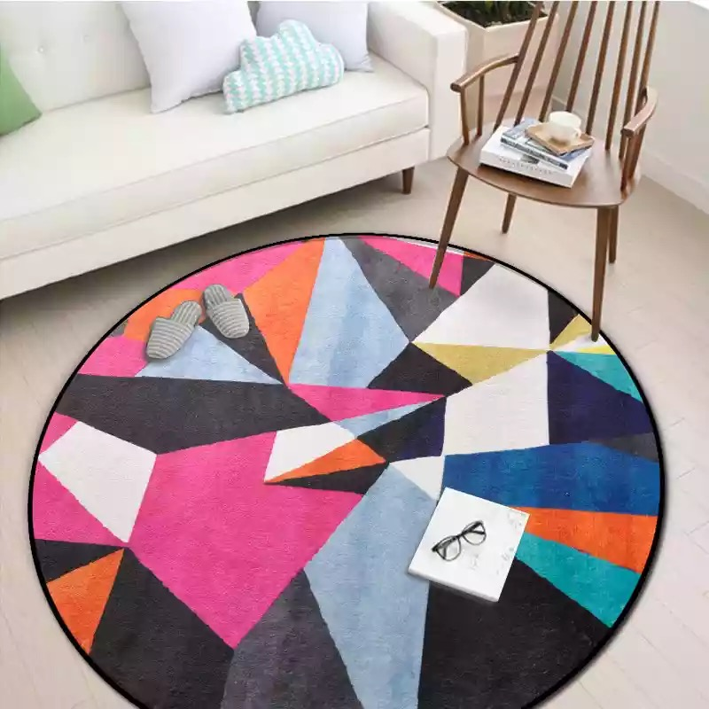 Round Spliced Carpets for Bedroom Soft Flannel Living Room Area Rug Aubusson Geometric Design Europe Colorful