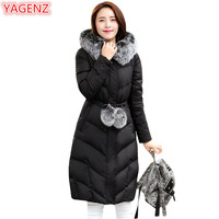 YAGENZ Plus size Winter Jacket Womens Parkas Mujer 2018 Mouton Coat Female Fur collar Hooded Long Coats Fashion Warm Jackets 402