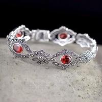 Hot Sale Real Silver Red Gems Silver Bracelet Handmade Lady's S925 Pure Silver Bracelet Classic Thai Silver Beautiful Bracelets
