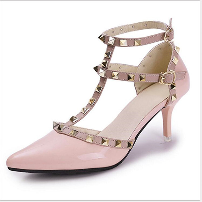 Hasp Rivet heels shoes woman Pumps Sexy Pointed Toe  Fashion Buckle Studded Stiletto High Sandals Shoes Rivet shoes Ankle Strap lankarin brand 2017 summer woman pointed toe flats ladies platform fashion rivet buckle strap flat shoes woman plus size