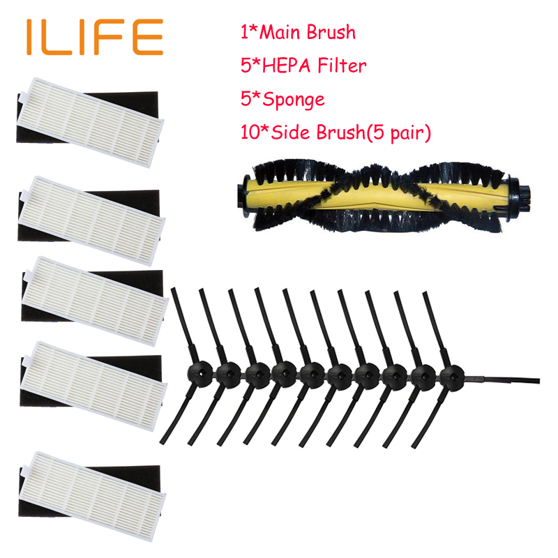 1*Main Brush+5*HEPA Filter+5*Sponge+10*Side Brush for ILIFE A4 Robot Vacuum Cleaner Parts chuwi ilife a4 T4 X432 X430