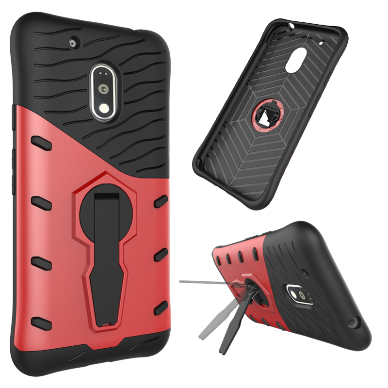 For Motorola G4 Play 5.0 Case Tough Slim Armor Shockproof Kickstand Hybrid Cover 360 Rotation Hard Case Simple Fashion Black