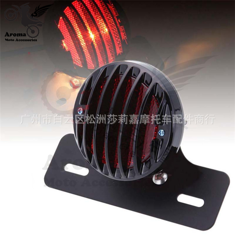 chopper part round red lighting motorbike rear indicator for harley moto brake with license plate bracket motorcycle tail light