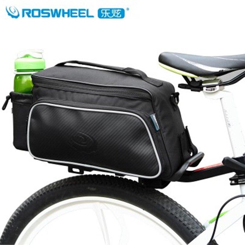 Hot ROSWHEEL Black Cycling Bike Carbon Fiber Leather Bags Bicycle Rear Rack <font><b>Seat</b></font> Pannier Bag Pouch 10L MTB Bags