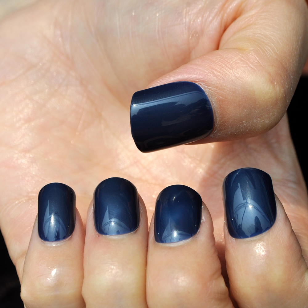 24pcs/bag Daily Wear Candy Fake Nail Dark Blue Shiny Nail Art False ...