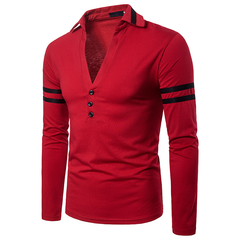 Mens clothing autumn winter solid color design V neck design lapel long sleeves polo shirt 3colour