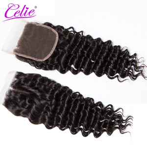 Image 5 - Celie Hair 6x6 Lace Closure Brazilian Deep Wave Closure Pre Plucked Remy Swiss Lace Human Hair Closure Bleached Knots 10 20 inch