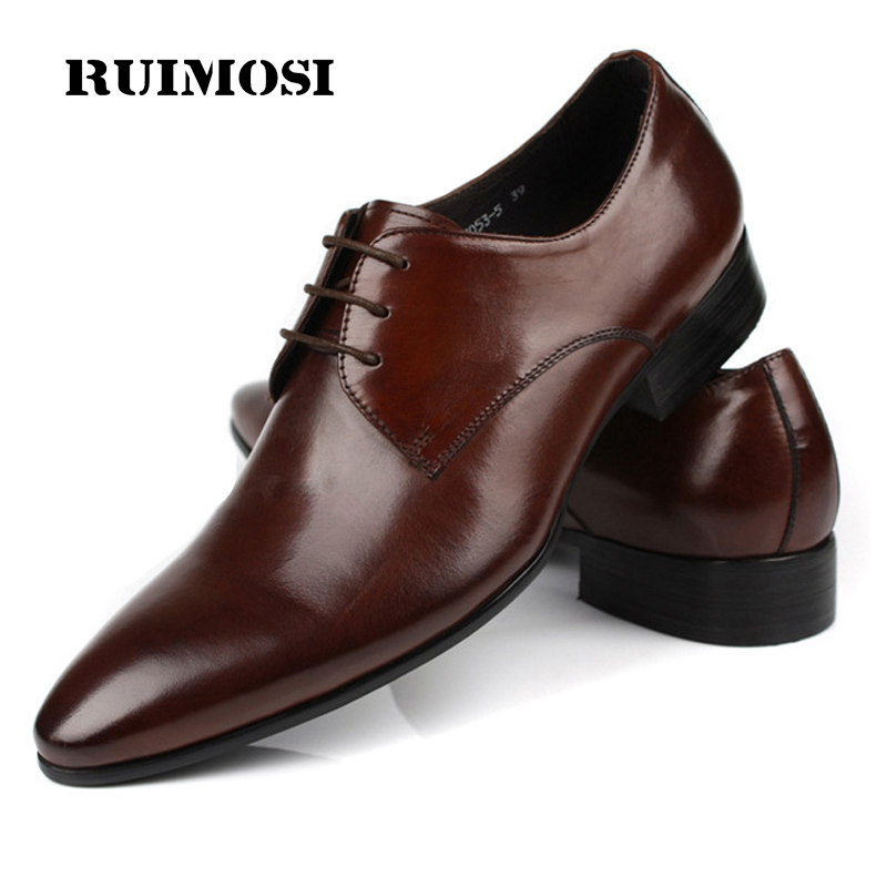 RUIMOSI 2017 Hot Saling Man Dress Shoes Genuine Leather Business Oxfords Classic Pointed Toe Men's Wedding Flats For Bridal AS21