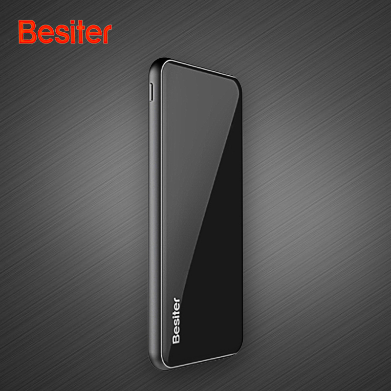 Besiter External Battery Pack 10000mAh Power Bank 5000mah Mobile Power for Smartphone Ultra Thin Battery Charger for Xiaomi