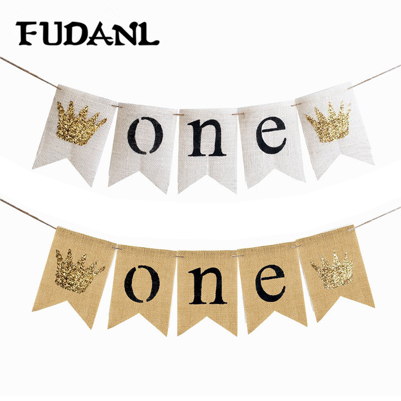 1set Baby Boy Girl First Birthday Banner ONE Year 1st Birthday Bunting Party Decoration Baby Shower Party Supplies