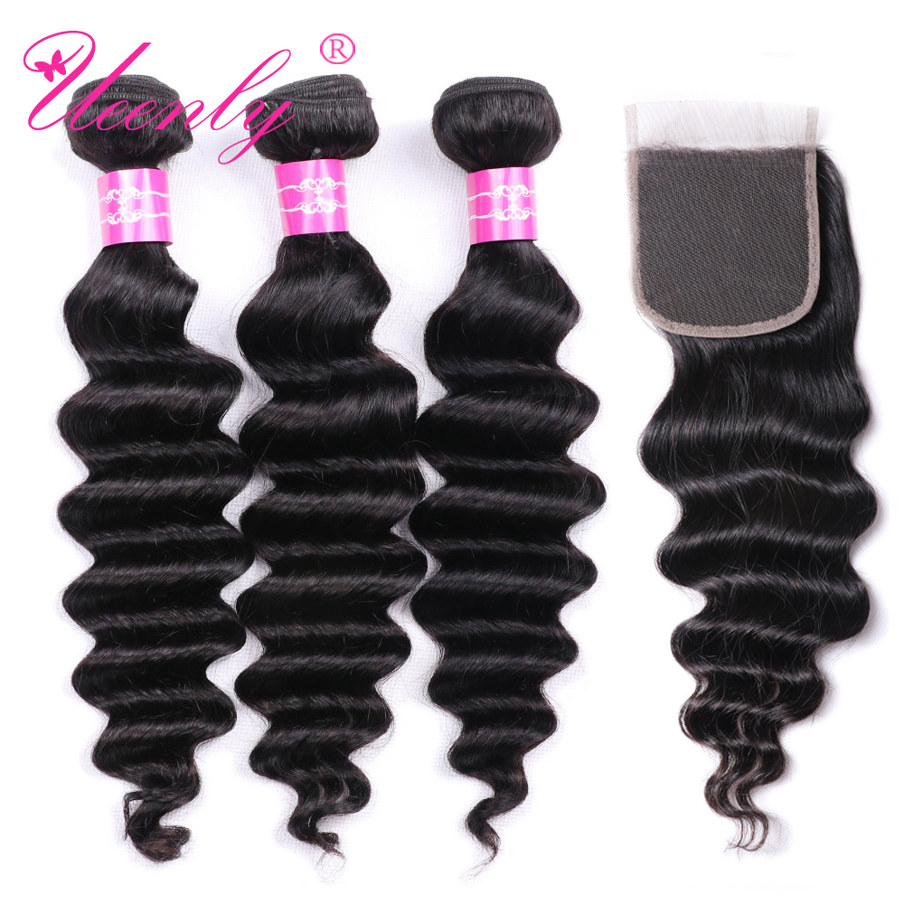 UEENLY Deep-Wave-Bundles Closure Loose Brazilian-Hair with Weave Non-Remy