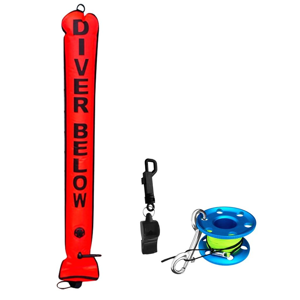 4FT Orange Scuba Diver Diving (SMB) Surface Marker Buoy Signal Tube + Finger Spool Reel Line Double Ended Bolt Snap + Whistle
