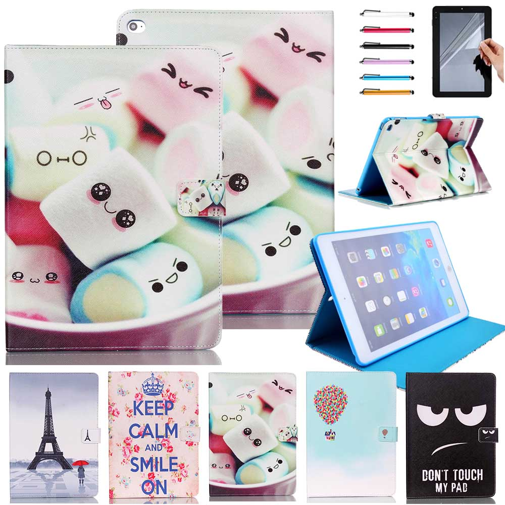 Hot selling Print Flip PU Leather Stand Cover Case For Apple iPad Air 2 Wake Up Sleep Function with stylus Pen Gifts in stock bencus ipad air 2 case flip pu leather stand cover with auto sleep wake up function for ipad air 2 ii ipad air2 magnetic flip
