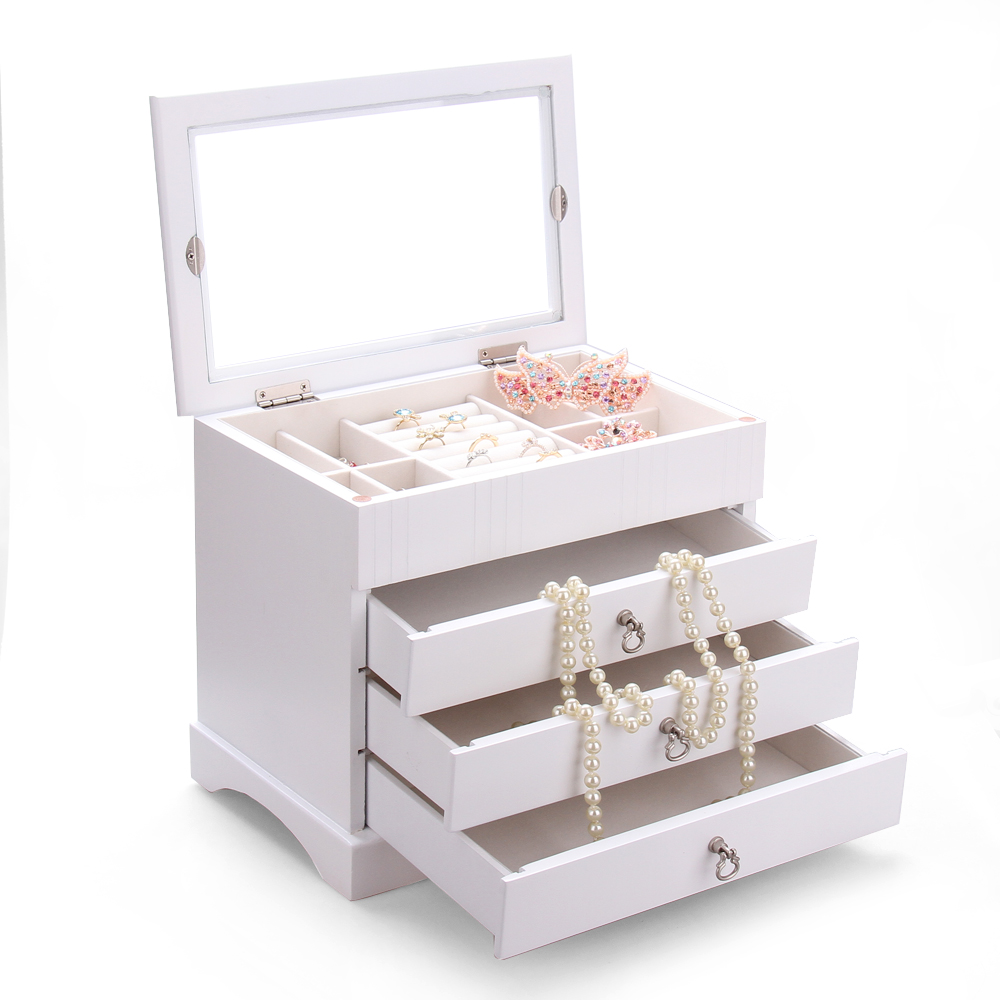 Large Wooden Jewelry Boxes For Girls Rings Glass Top Organizer Earrings Bracelet Storage 3 Drawers Display