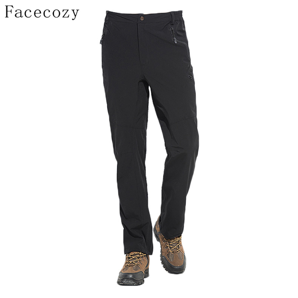 Facecozy Men Summer Outdoor Sports Pants Quick Dry Hiking&Camping Trousers Solid Elastic Nylon Fabric Light Breathable Pants