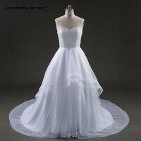 robe mariage2018 new OrganzaAline beaded white vestido de novia long cheap trouwjurk plus size hochzeitskleid hot