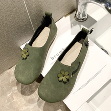 2019 New Ladies Cute Flower Slip On Flat Shoes Woman Loafers Women Shoes Leather Comfort ballet flats sapatos mocassin femme недорого