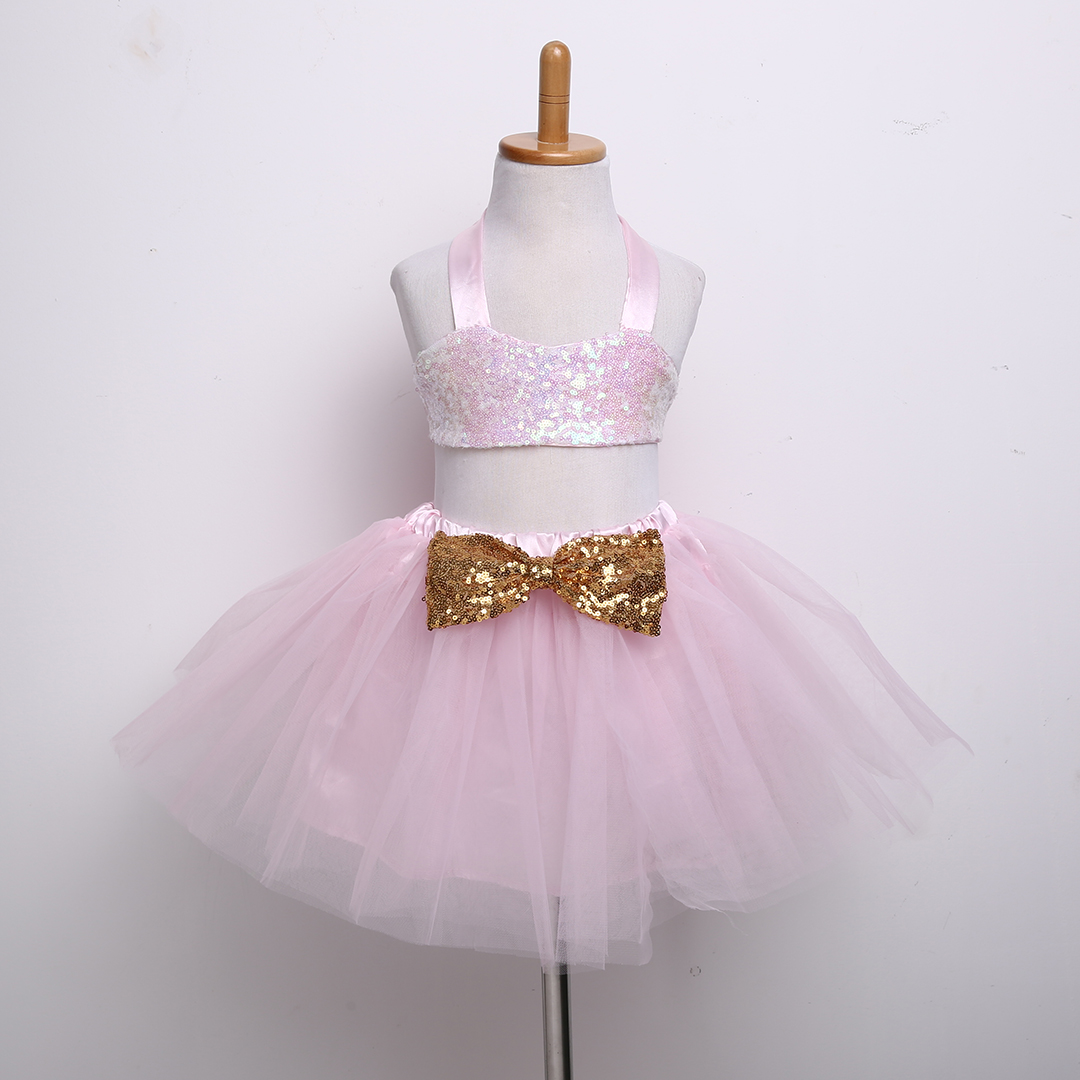 dc1dd4823381 2017 Fancy Dress 0-3Y Toddler Kids Girls Clothes Sequins Vest Crop Top Ball  Gown