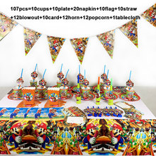 107pcs/lot Super Mario Bros disposable tableware set paper plate cup horn flag popcorn birthday party decorations